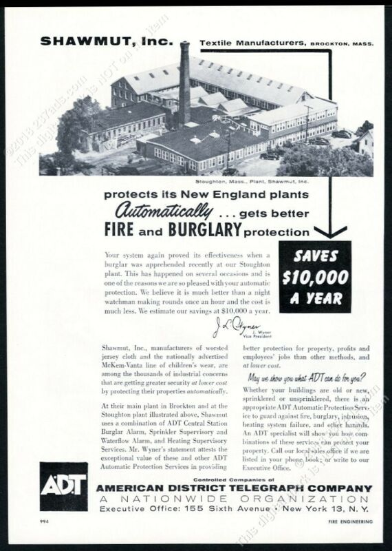 1957 ADT A.D.T. fire alarm & burglar service Stoughton MA photo vintage print ad