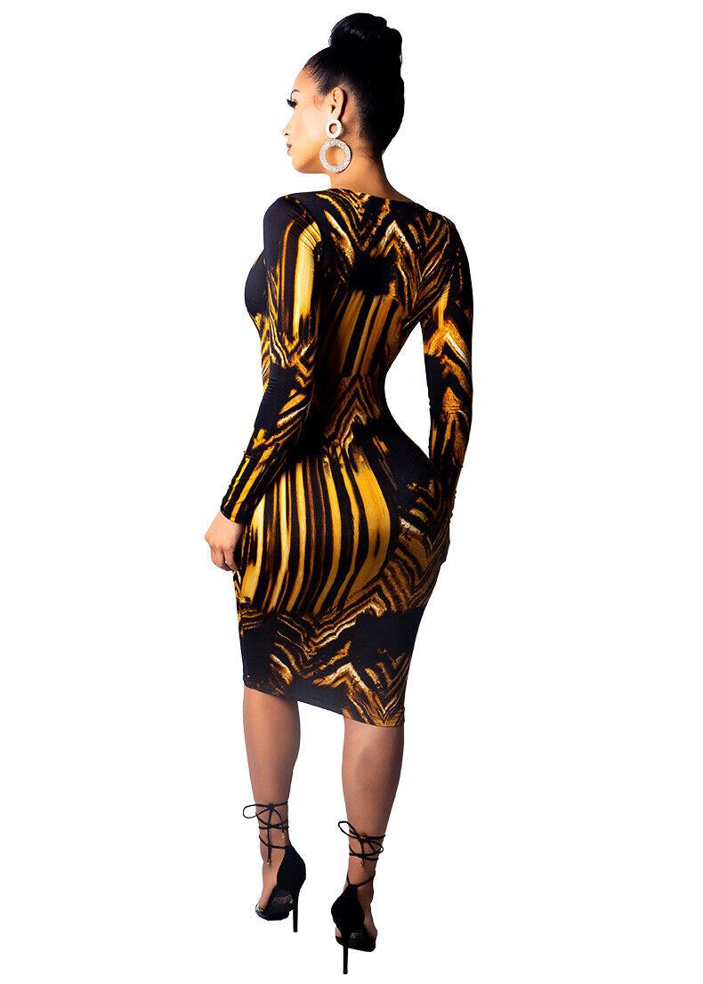 Gold Black Print Dress 3