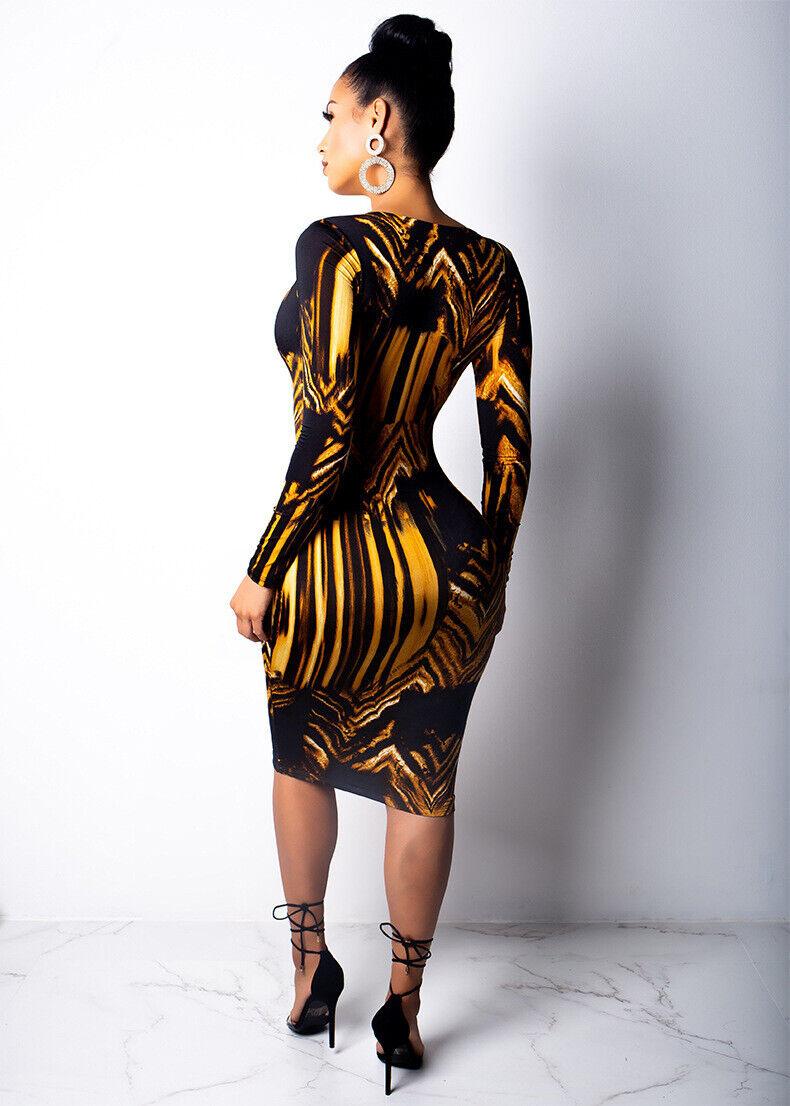 Gold Black Print Dress 4