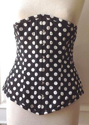 "Versatile Fashions Black / White Polka Dot Corset Size 34"" Brand New Never Worn!"