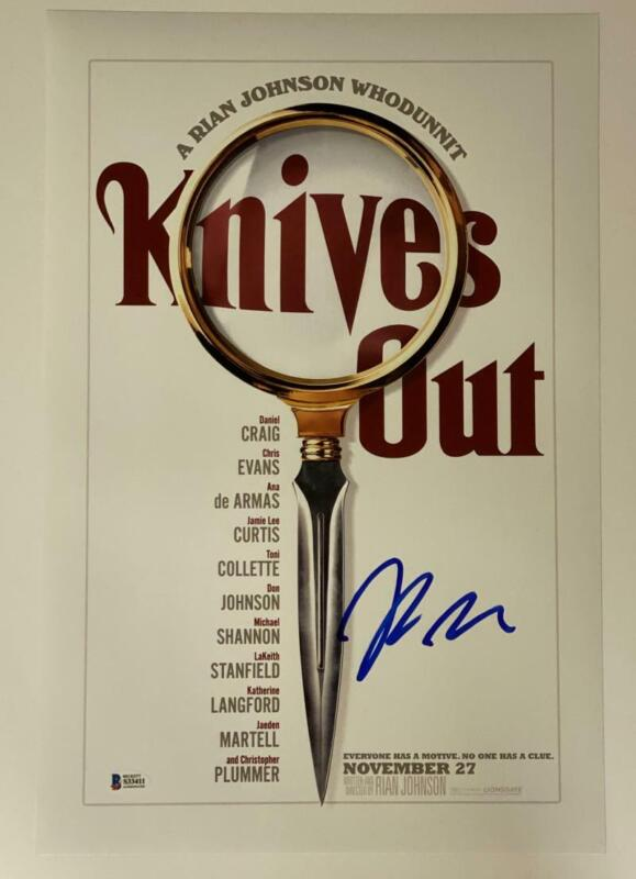 RIAN JOHNSON KNIVES OUT SIGNED 12X18 PHOTO POSTER AUTOGRAPH BECKETT COA A