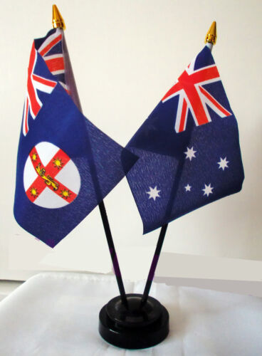 AUSTRALIA NEW SOUTH WALES TABLE FLAG SET Australian Sydney Wagga Wagga Newcastle