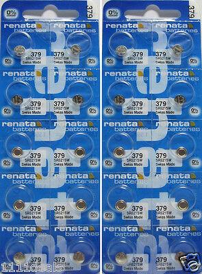 20 Renata 379 - SR521SW Button Cell 0% MERCURY -