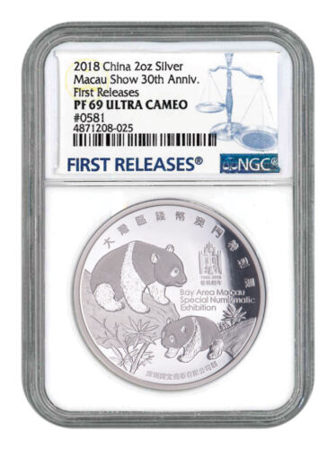 2018 China Macau Show Panda 2 oz Silver Proof Medal NGC PF69 UC FR SKU56217