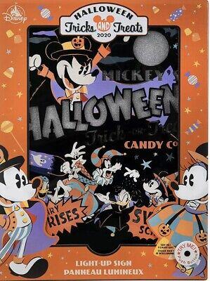Disney Parks 2020 Halloween Mickey Tricks & Treats Halloween Light-Up Sign NEW