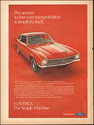 1971 Vintage ad for Ford Maverick Red Retro Car Photo (021417)