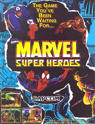 Capcom MARVEL SUPER HEROES Original 1995 NOS Video Arcade Game Promo Flyer