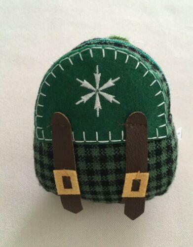 One Target Green Plaid Fabric Backpack Hanging Ornament