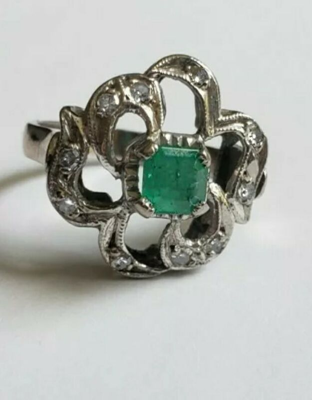 Vintage 10k White Gold Diamond and Emerald  Bow Motif Earrings