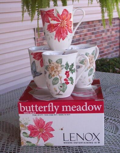 4 NEW LENOX BUTTERFLY MEADOW HOLDIAY MUGS-POINSETTIA & JASMINE CUPS-12 OUNCE