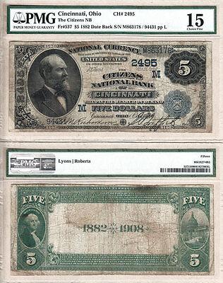 1882 Db  5 The Citizens National Bank Of Cincinnati  Oh  Pmg F15 Fr 537  Ch 2495