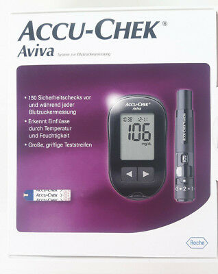 Accu Chek Aviva Set mg/dl NEUOVP 10 Teststreifen Stechhilfe Blutzucker Messgerät