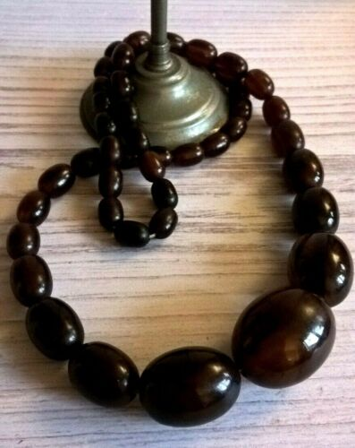 Vintage Wood Amber Bakelite Beads Necklace