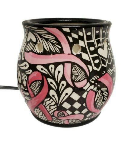 Scentsy Ribbons Of Hope Retired Wax Warmer Breast Cancer Black White Pink Ribbon