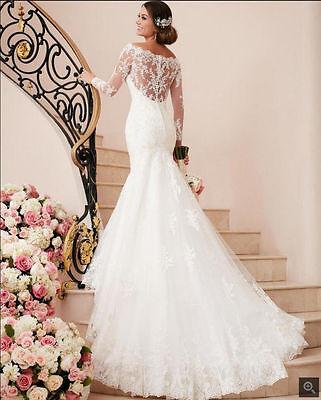 White ivory Lace Wedding dress Bridal Gown custom size : 2 4 6 8 10 12 14 16 18
