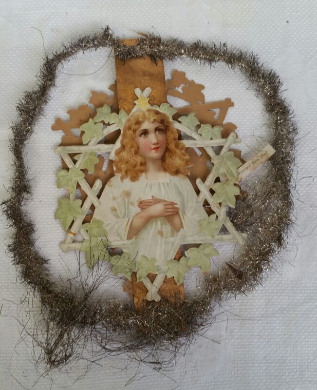 ANTIQUE ANGEL RETRO COLLECTABLE RARE COLLECTABLE CHRISTMAS FEATHER TREE TOPPER
