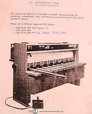 Promecam Gth 420 425 430 Shears Technical Operating Parts Manual 1981