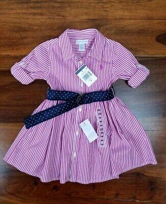 Ralph Lauren Baby Girl Striped Belted Shirtdress Size 9months Nwt