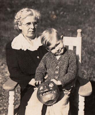 Halloween Pumpkins Photos (HALLOWEEN PUMPKIN JACK o LANTERN LUCKY BOY w GRANDMA ~ 1930s VINTAGE)