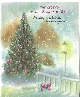 """VTG Greeting Card - Christmas approx 4 x 5"""" Decorated Tree Outdoors"""