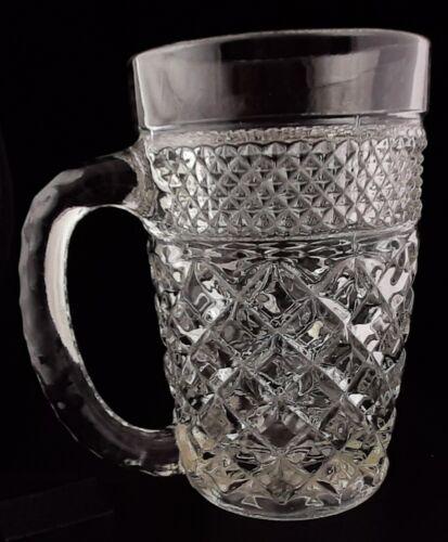 """Vintage Retro Art Deco Anchor Hocking Wexford Clear Glass Mug 5 1/8"""" Tall 14 Oz."""