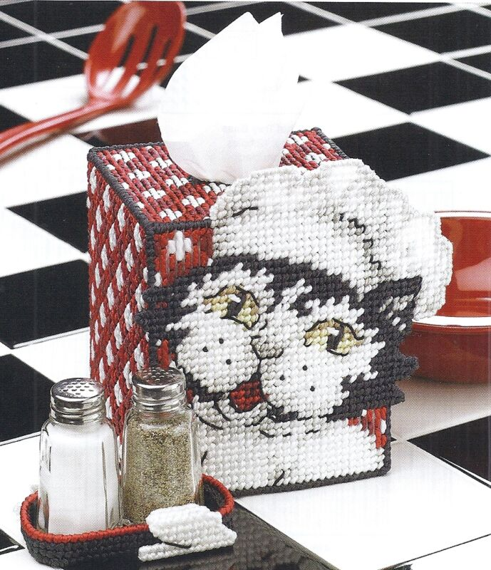 **KITTY CHEF TISSUE BOX COVER  TO STITCH**PATTERN ONLY*PLASTIC CANVAS PATTERN**
