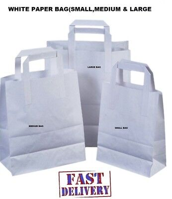 Kraft Craft Paper Sos Carrier Bags White With Flat Handles Takeaway Restaurant
