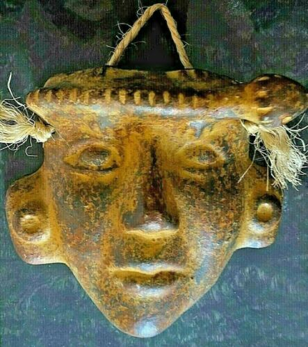 Vintage Aztec Mayan Terra Cotta Clay Face Mask w/Lizard Gecko Wall Art Decor