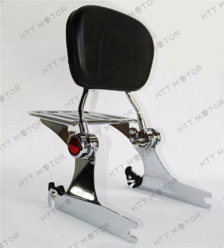 Adjustable Detachable Backrest Sissy Bar Luggage Rack For Harley Dyna 06up Chrom