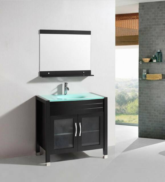Bathroom Vanity Glass Top 36 inch belvedere modern espresso bathroom vanity w/ tempered