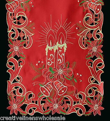 Gold Christmas Candle - Holiday Christmas Poinsettia Candle Placemat Table Cloth Runner RED GOLD 6727