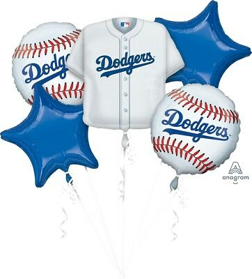 Team Dodgers Baseball Balloon Bouquet Set Party Decoration 5 Count Balloons