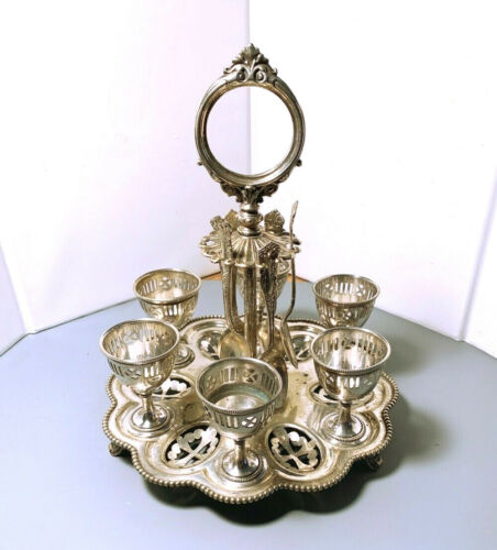 SILVER PLATE 1870 EGG CADDY WITH SPOONS, ENGLISH ORNATE 6 CUPS