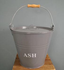 Metal Fireside Ash Bucket in French Grey