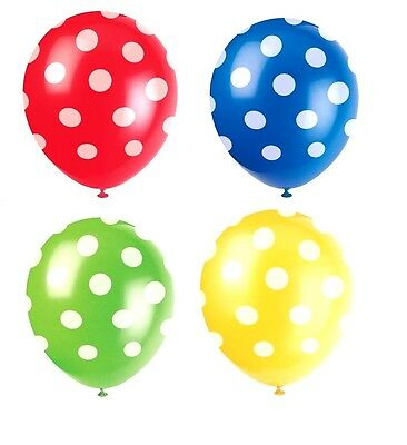 POLKA DOT BALLOONS x 6 ~ Blue Green Yellow Red ~ Adult Child BIRTHDAY Party Kids](Green Polka Dot Balloons)