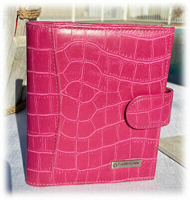 Euc Franklin Covey Faux Leather Croc Hot Pink Clutch Strap Planner Purse
