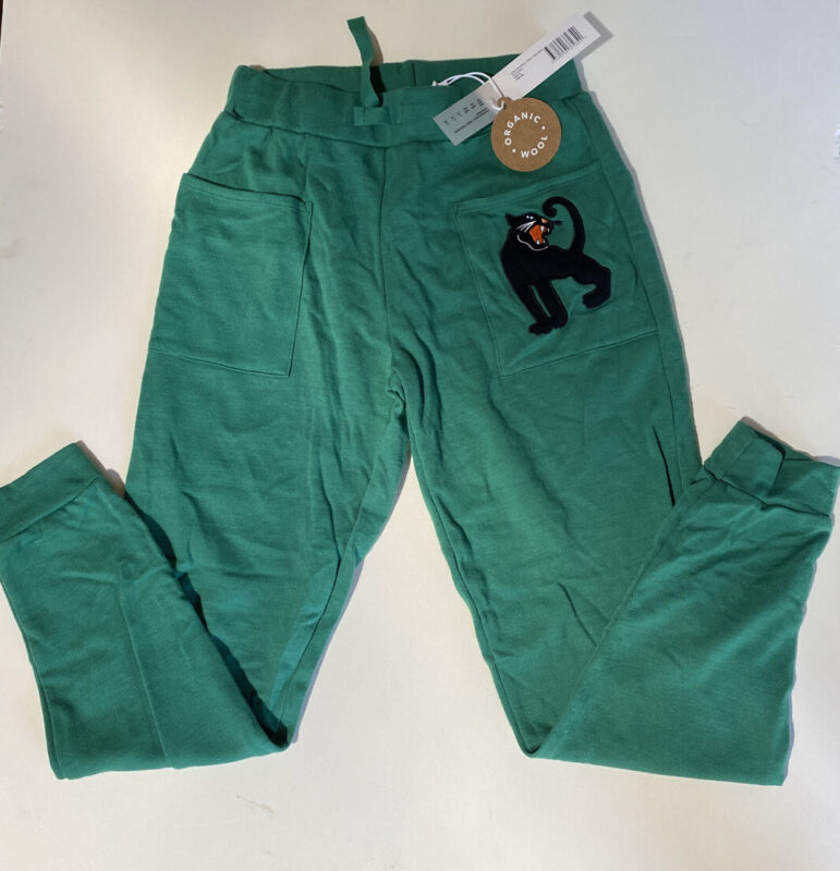 NWT MINI RODINI KID'S PANTHER WOLL TERRY TROUSERS GREEN 140/146 $99
