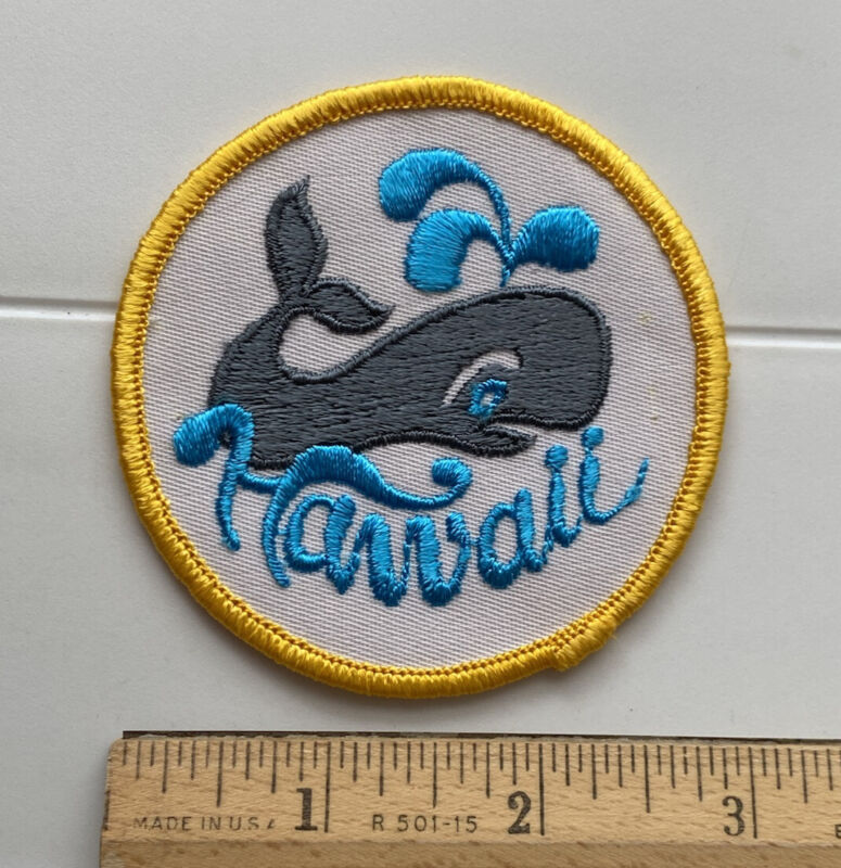 Hawaii Whale Blue Yellow White Hawaiian Souvenir Embroidered Patch Badge