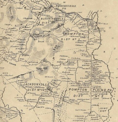Pompton Plains Lincoln Park Pompton Lakes NJ 1868  Map w/ Homeowners Names Shown