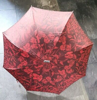 Red Floral Vintage 1960's - 70's Retro Ladies Umbrella knirps Original Case