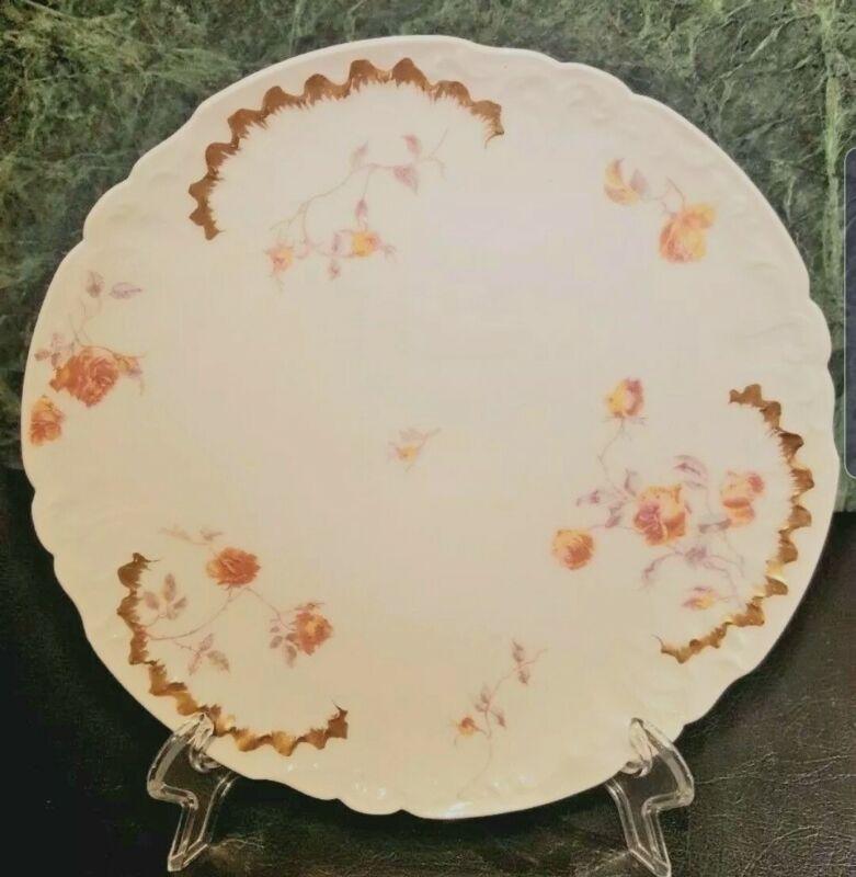 Antique J Pouyat French Porcelain Limoges Salad Floral Plate Gilt Gold Pink