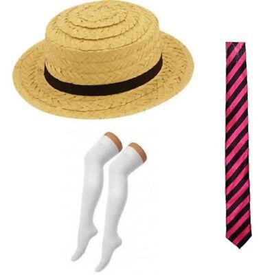 Straw Boater Hat Pink Black Tie Socks School Girl St Trinians Fancy (Black Tie Kostüme)