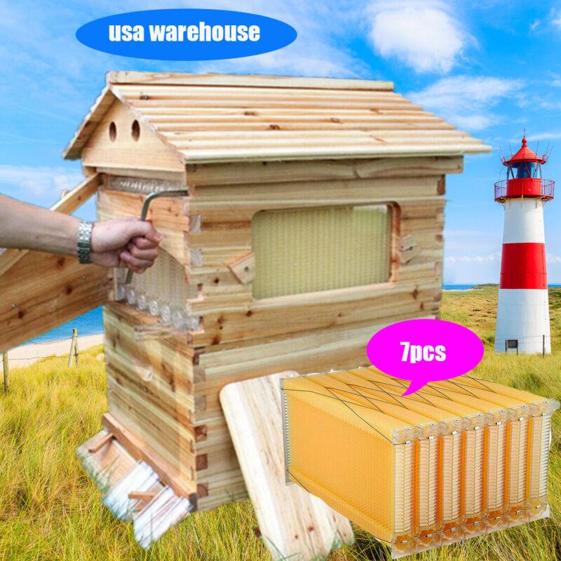 7x Auto Flowing Honey Bee Hive Beehive Frames Beekeeping Brood Cedarwood Box Set