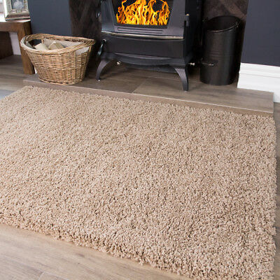 Beige Goldy Light Brown Tan Warm Shaggy Area Rug Living Room Bedroom Floor Rugs - Beige Tan Teppich