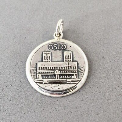 .925 Sterling Silver OSLO CHARM Norway City Hall Pendant NEW 925 TR198