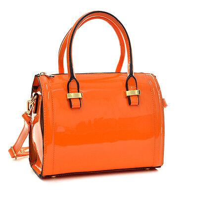 Women Mini Small Patent Faux Leather Handbag Barrel Satchel
