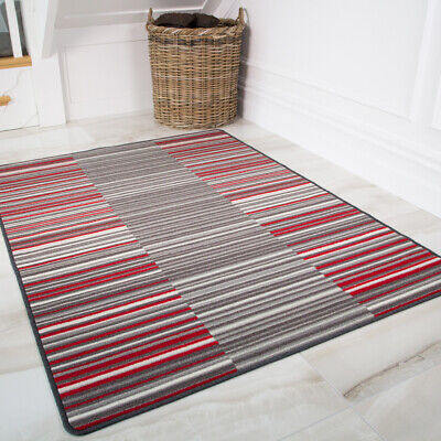 Red Stripe Teppich (Vibrant Red Stripe Lines Non Slip Kitchen Rug Mat Floor Small Large Hall Doormat)