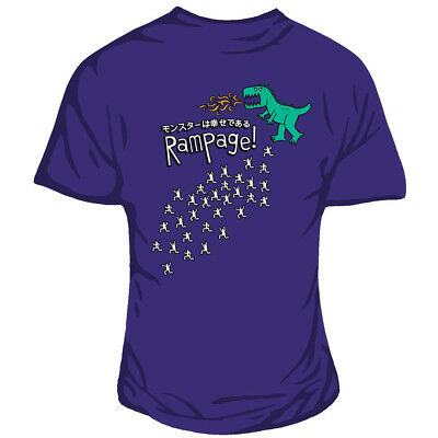 Genki Gear Godzilla Dinosaur Japanese City Rampage Funny Purple Fitted Tshirt (Party City Dinosaur)