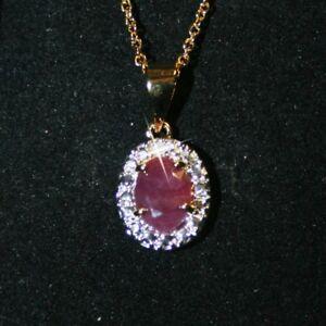 Solid 925 Sterling Silver Natural Ruby & Diamond Pendant & Chain TZldrH