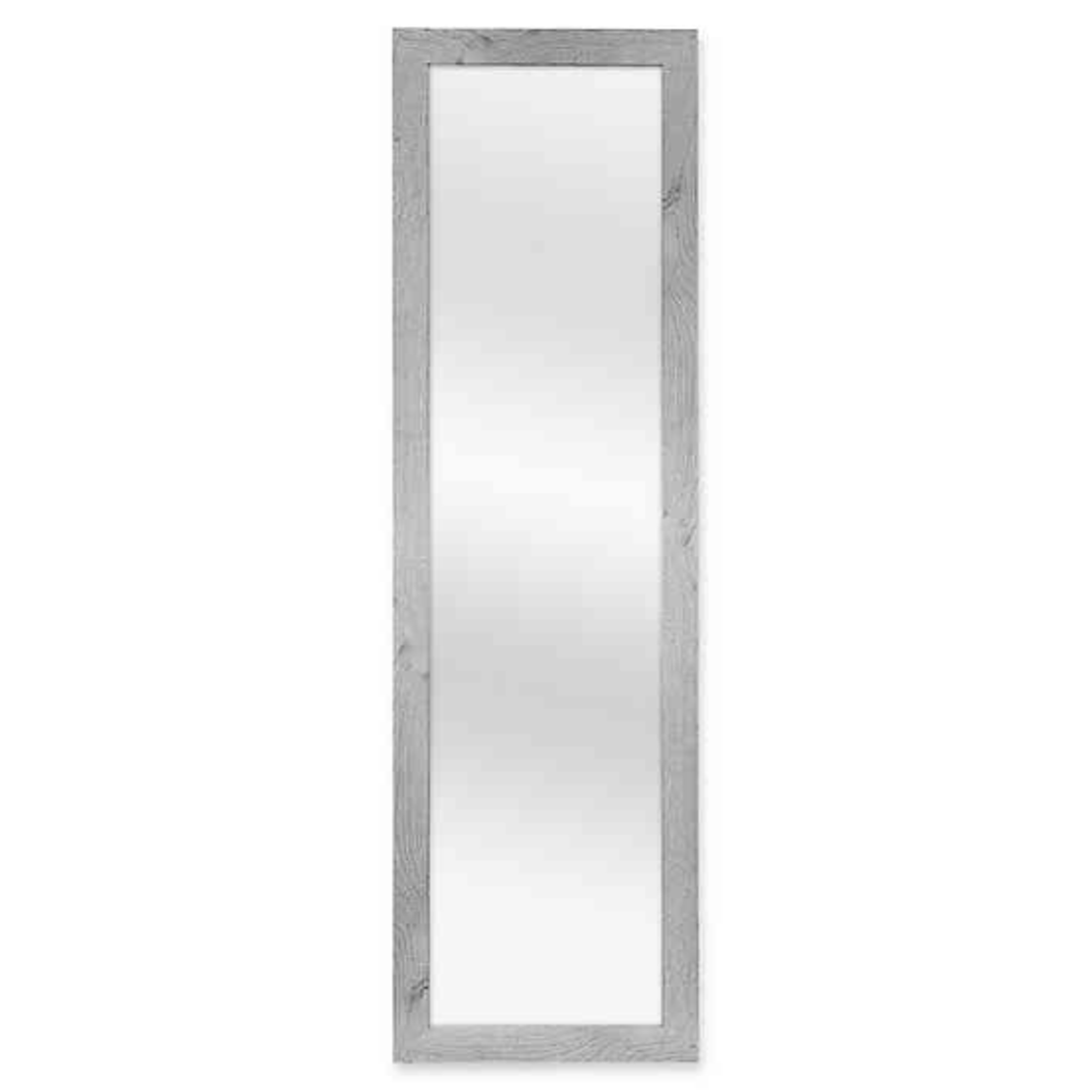 "Over-The-Door Hanging Grey Mirror - Wood Frame, Total 51""x15"